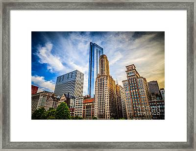Chicago Skyline Legacy At Millenium Park Framed Print by Paul Velgos