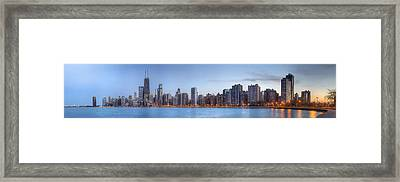 Framed Print featuring the photograph Chicago Skyline Night Panorama by Shawn Everhart