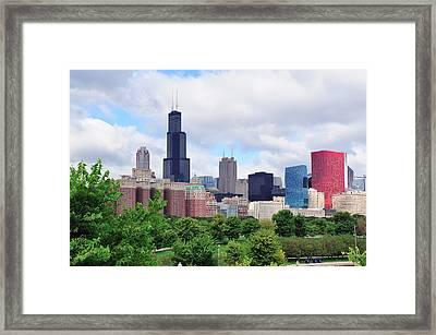 Chicago Skyline Over Park Framed Print
