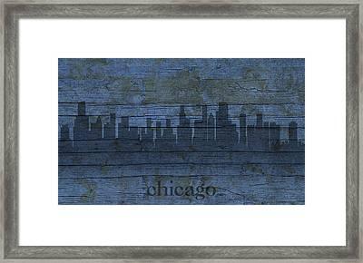 Chicago Skyline Silhouette Distressed On Worn Peeling Wood Framed Print