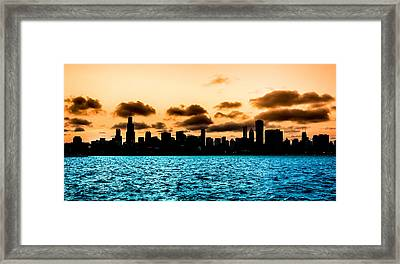 Chicago Skyline Silhouette Framed Print