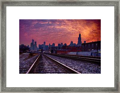 Chicago Skyline Sunrise December 1 2013 02 Framed Print