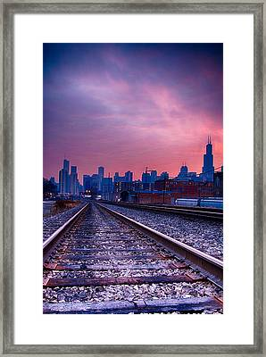 Chicago Skyline Sunrise December 1 2013 Framed Print