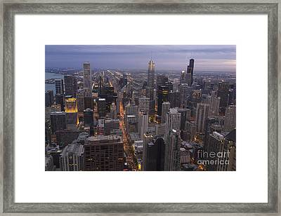 Chicago Skyline The Blue Hour Framed Print by Linda Matlow