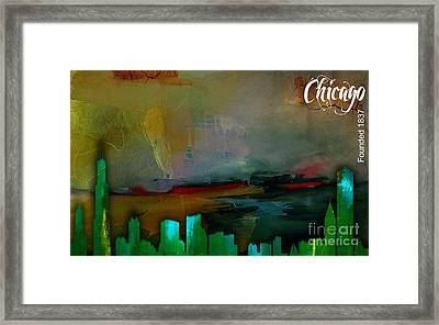 Chicago Skyline Watercolor Framed Print