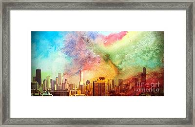 Chicago Skyline Watercolor Sky Framed Print by Linda Matlow