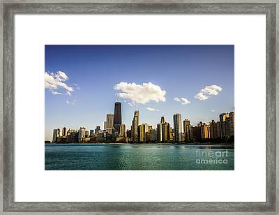 Chicago Skyline With Downtown Chicago Buildings Framed Print by Paul Velgos