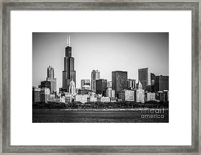 Chicago Skyline With Sears Tower In Black And White Framed Print