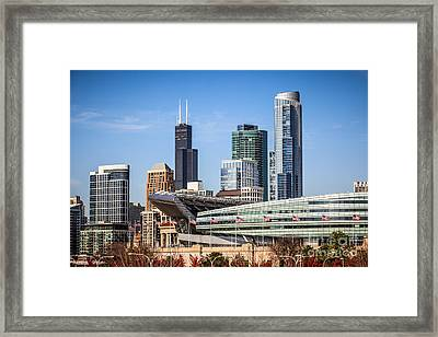 Chicago Skyline With Soldier Field And Sears Tower  Framed Print by Paul Velgos