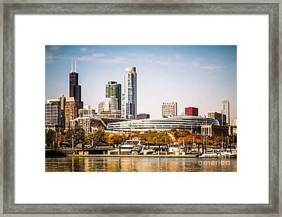 Chicago Skyline With Soldier Field Framed Print
