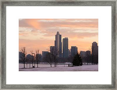 Chicago Skyscrapers In Sunset Framed Print