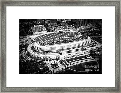 Chicago Soldier Field Aerial Picture In Black And White Framed Print