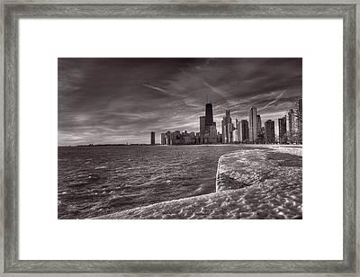 Chicago Sunrise Bw Framed Print by Steve Gadomski