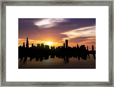 Chicago Sunset Skyline  Framed Print by Aged Pixel