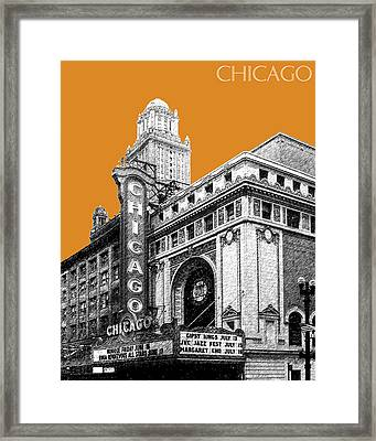 Chicago Theater - Dark Orange Framed Print