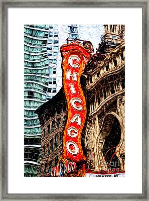 Chicago Theater Sign Digital Painting Framed Print by Paul Velgos