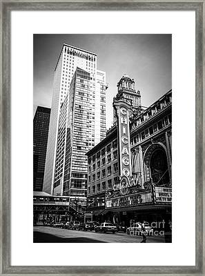 Chicago Theatre Black And White Picture Framed Print by Paul Velgos