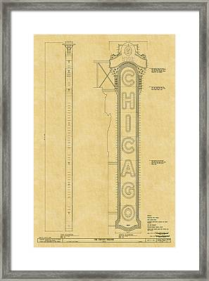 Chicago Theatre Blueprint Framed Print
