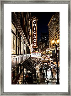 Chicago Theatre Marquee Red Carpet Premiere On State Street Framed Print by Linda Matlow