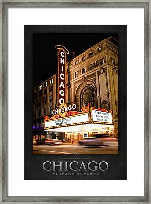 Chicago Theatre Marquee Sign At Night Poster Framed Print by Christopher Arndt