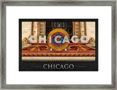 Chicago Theatre Marquee Sign Poster Framed Print by Christopher Arndt