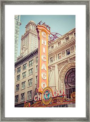 Chicago Theatre Retro Vintage Picture Framed Print by Paul Velgos