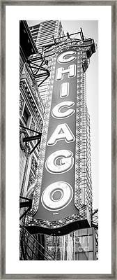 Chicago Theatre Sign Black And White Panorama Framed Print