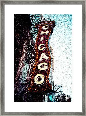 Chicago Theatre Sign Digital Art Framed Print