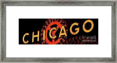 Chicago Theatre Sign Panorama Photo At Night Framed Print