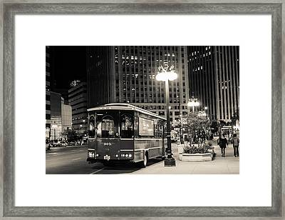 Chicago Trolly Stop Framed Print