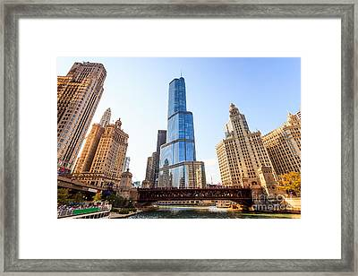 Chicago Trump Tower At Michigan Avenue Bridge Framed Print by Paul Velgos
