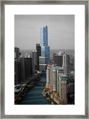 Chicago Trump Tower Blue Selective Coloring Framed Print by Thomas Woolworth