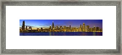Chicago Ultrawide Panorama Sunset Framed Print by Donald Schwartz