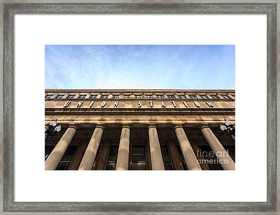 Chicago Union Station Sign And Building Columns Framed Print by Paul Velgos
