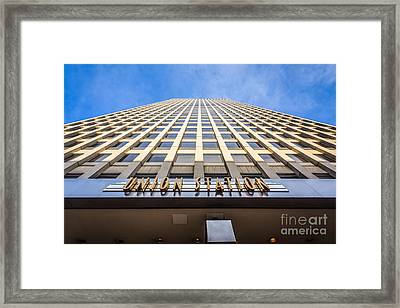Chicago Union Station Sign And Building Exterior Framed Print by Paul Velgos
