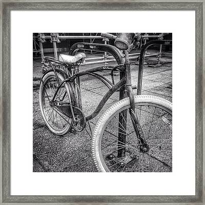 Locked Bike In Downtown Chicago Framed Print