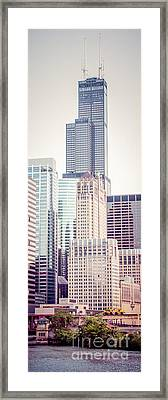 Chicago Vertical Panorama Of Sears Willis Tower Framed Print by Paul Velgos
