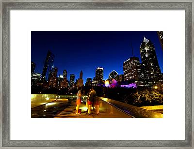 Chicago - View From The Bp Bridge Framed Print by Greg Thiemeyer