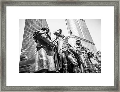 Chicago Washington Morris Salomon Statue Black And White Picture Framed Print by Paul Velgos