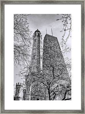 Chicago Water And Hancock Towers Black And White Framed Print by Christopher Arndt