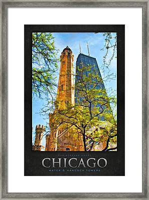 Chicago Water And Hancock Towers Poster Framed Print by Christopher Arndt