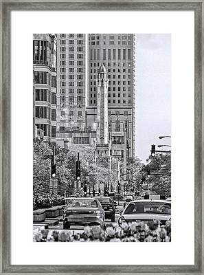 Chicago Water Tower Beacon Black And White Framed Print by Christopher Arndt