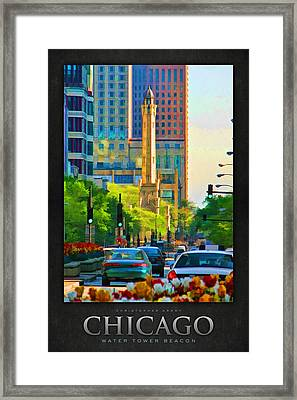 Chicago Water Tower Beacon Poster Framed Print by Christopher Arndt