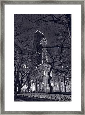 Chicago Water Tower Dusk B W Framed Print by Steve Gadomski