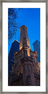 Chicago Water Tower Panorama Framed Print by Steve Gadomski