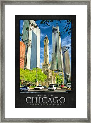 Chicago Water Tower Shopping Poster Framed Print by Christopher Arndt