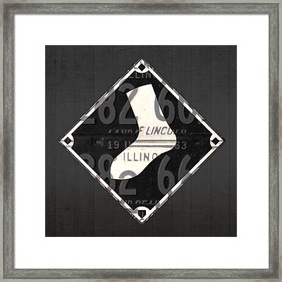 Chicago White Sox Baseball Vintage Logo License Plate Art Framed Print by Design Turnpike