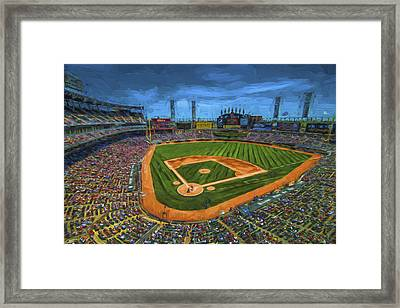 Chicago White Sox Painted Digitally Us Cellular Field Framed Print by David Haskett