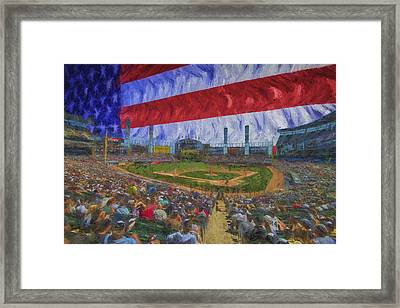 Chicago White Sox Us Cellular Field Flag Digitally Painted  Framed Print by David Haskett