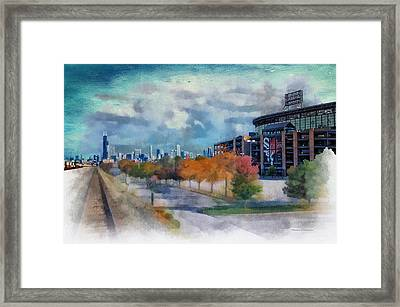 Chicago White Sox Us Cellular Field Mixed Media 01 Textured Sky Framed Print
